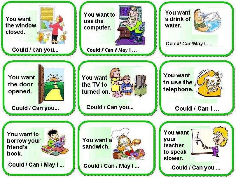 Упражнение на модальные глаголы в английском языке